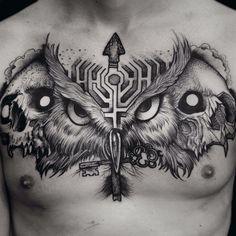 Chest Tattoo Wings, Owl Tattoo Chest, Full Chest Tattoos, Chest Piece Tattoos, Best Sleeve Tattoos, Chicano Art Tattoos, Skull Tattoos, Body Art Tattoos, Medusa Tattoo Design