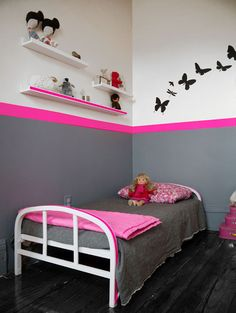 A Neon Striped Kids Room Of course i would go with a neon green something more for boys but i like the ideal.