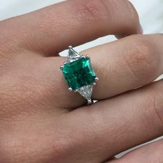 Beautiful trillion cut white diamonds accent the asscher Colombian emerald. A custom order for our client 😊💎 Diamond Bands, Diamond Wedding Bands, Halo Diamond, Diamond Engagement Rings, Trillion Ring, Emerald Jewelry, Emerald Rings, Art Deco Emerald Ring, Green Emerald Ring