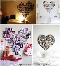 coração de fotos na parede do quarto