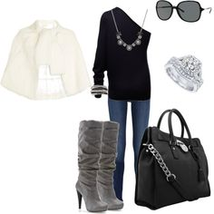 fair isle cap, tall gray boots, black bag, black off the shoulder, white cape jacket