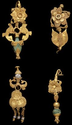 Taxila  Punjab, Pakistan Gold earrings with turquoise. 1st-2nd century AD. These ear-rings are made from sheet gold, cut into shape and embellished with gold granules and wire decoration. Two have vase shaped pendants set with either a turquoise or a pearl bead, and a third has a pendant composed of a gold spherical bead and a turquoise bead set in a granulated gold mount.