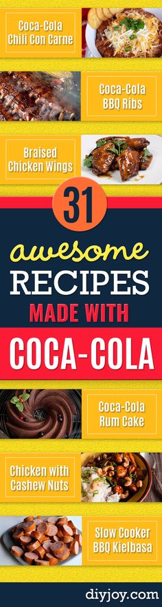 Best Coca Cola Recipes - Make Awesome Coke Chicken Coca Cola Cake Meatballs Sodas Drinks Sweets Dinners Meat Slow Cooker and Recipe Ideas With Cake Mixes Coke Recipes, Easy Meat Recipes, Beef Recipes For Dinner, New Recipes, Crockpot Recipes, Cooking Recipes, Favorite Recipes, Crockpot Dishes, Recipies