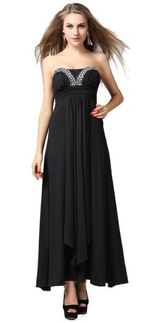 Strapless Black Empire Waist Sequin Neckline Lace Long Evening Dresses (US 18)