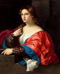 ''Palma Vecchio - Portrait of a Young Woman Known as La Bella, 1520''. This…