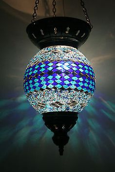 REDUCED EXTRA LARGE TURKISH MOROCCAN MOSAIC HANGING LAMP SHADE PENDANT LANTERN