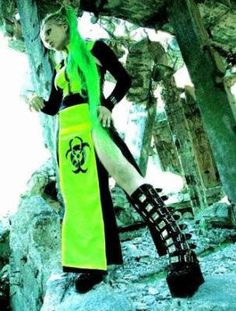 cyber goth biohazard outfit
