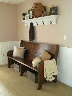 Live a Little Wilder: DIY church pew and shelf. Something like this along the way from bottom of stairs into kitchen / dining hall. Church Pew Bench, Church Pews, Church Foyer, Kitchen Table Bench, Kitchen Dining, Passion Deco, Entryway Decor, Home Projects, Farmhouse Decor