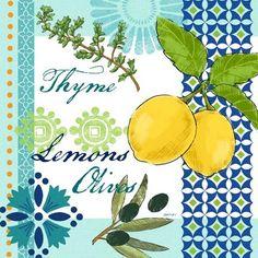 thyme-lemons-and-olives Decoupage, Vintage Diy, Lemon Art, Fruit Illustration, Kitchen Wall Art, Decorative Tile, Logo Color, Texture Art, Fall Harvest