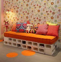 Sofa Made from Cinder Blocks