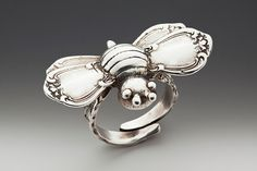 Silver Spoon Jewelry ® : Vintage Spoon and Fork Demitasse Jewelry: Bumble Bee Ring