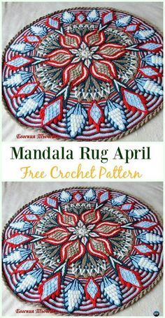 Crochet Mandala Rug April Free Pattern - Area Ideas Free Patterns by Michele L Collura 10 DIY Crochet Area Rug Ideas with Free Patterns: for dinning room, living room, bedroom or even as kitchen mat, a great addition to interior decor, Motif Mandala Crochet, Mandala Rug, Crochet Rug Patterns, Crochet Motifs, Crochet Squares, Knitting Patterns, Afghan Patterns, Mandala Blanket, Granny Squares