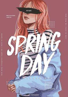 BTS / Spring Day / Fanart by pepakomi Bts Bangtan Boy, Bts Jimin, Wallpapers Ipad, Bts Girl, Bts Drawings, Pencil Drawings, Fan Art, Bts Chibi, Bts Fans