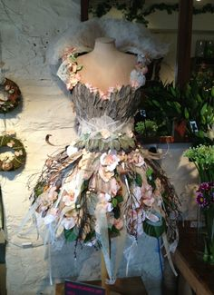My entry for the Manx Wearable Art Exhibition. Dress constructed from wood, silk flowers, stachys leaves, and other natural materials