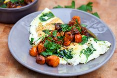 Spinach and Feta Egg White Omelette with Roasted Tomatoes