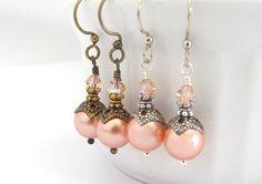 Pearl Earrings Rosaline Swarovski Crystal Wedding by hawaiibeads, $15.00