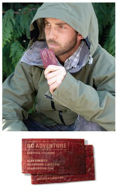 BC Adventure Survival Training: Business Card | The first rule of wilderness survival is preparation. That's why BC Adventure wanted to make sure everyone who stepped through their door left at least a little more prepared for the wild. Made from organic beef jerky this laser etched card is good to eat for up to a year in case you find yourself stuck in a precarious situation. | Designer: DM