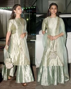 Alia Bhatt in a Raw Mango pastel brocade kurta with beautifully crafted sharara