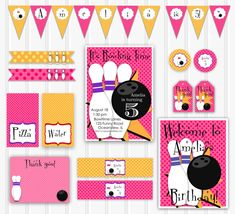 Printable Bowling Party Set, Printable Invitation, INSTANT DOWNLOAD Retro Bowling Birthday for Girls, Custom Bowling Party Set, Party Kit