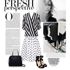 Mix Master by bjigg on Polyvore skirt: http://getthelooks.com.au/see-through-dot-full-skirt-in-white featuring Wallis, Nicholas Kirkwood, Kate Spade, Karl Lagerfeld and Oui