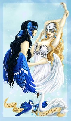 - Birds Mascarade -  Blue Jay and Swan - by ooneithoo.deviantart.com on @deviantART