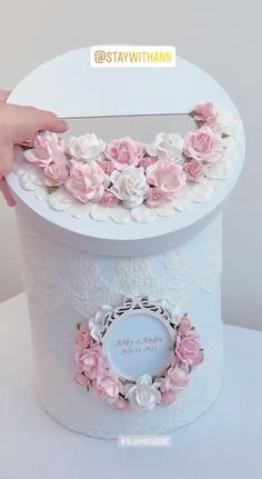 Card Box Wedding Blush Pink and White from StayWithAnn
