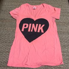 Neon Victoria Secret Pink tshirt Color is best shown in 2nd picture. Small spot on back right below the arm shown in picture 4. Super soft Victoria's Secret Tops Tees - Short Sleeve