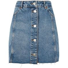 Topshop Moto Button Front Mini Skirt (670 MXN) ❤ liked on Polyvore featuring skirts, mini skirts, bottoms, faldas, denim skirt, saias, mid stone, short mini skirts, topshop skirts and button front skirt