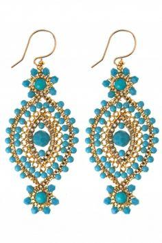 MIGUEL ASES Ohrschmuck Gold Filled handmade Türkis