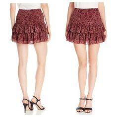 Sam Edelman Tiered Chiffon Ruffle Mini Skirt Burgundy Animal Print