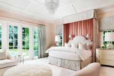 Pink bedroom in a Palm Beach mansion