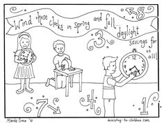 Coloring page about daylight savings time http://ministry-to-children.com/daylight-savings-time-coloring-page/