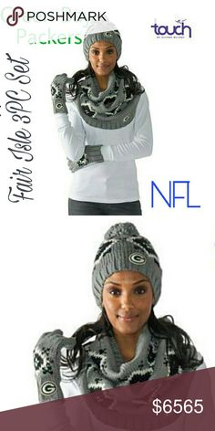 Green Bay Packers Fair Isle NFL Beanie 3PC Set Touch by Alyssa Milano Officially Licensed NFL Fair Isle Knit 3pc Set   Don't let a little thing like cold weather keep you from the game. You're a true super fan! Show up and cheer on your favorite team with this warm, Fair Isle knit 3-piece set. You'll be glad you did when the game goes into overtime.  What You Get Pair of 5-finger pull-on gloves Beanie-style hat with pom pom at top Wide infinity-style loop scarf Please lmk if you have any…