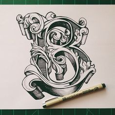 typeverything.com, by david salinas, ornate letter B, monogram, initial, block lettering, flourish