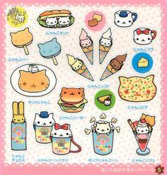 Kawaii food with cat faces Cute Animal Drawings, Kawaii Drawings, Doodle Drawings, Cute Drawings, Kawaii Panda, Kawaii Art, Kawaii Doodles, Cute Doodles, Kawaii Stickers