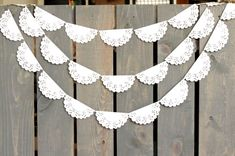 bridal shower decorations 698620960919752325 - White Lace Scallop Paper Doily Sewn Garland – Wedding Garland, Bridal Shower, Photo Backdrop, Baby S. Chic Bridal Showers, Bridal Shower Photos, Elegant Bridal Shower, Paper Doily Crafts, Doilies Crafts, Felt Crafts, Doily Wedding, Garland Wedding, Paper Doilies Wedding