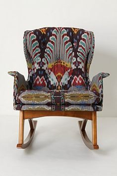 I love this rocker's design, and I LOVE the ikat print it has been upholstered in.  Anthro knows prints!