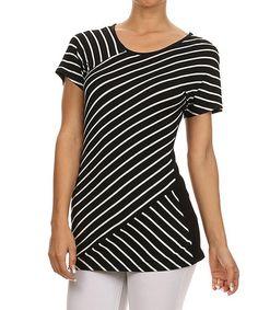 Look what I found on #zulily! Black & Ivory Diagonal-Stripe Top by One Fashion #zulilyfinds