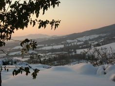 Snowy Todi at sunset  Umbria - Italy