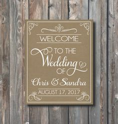 PRINTABLE Welcome To The Wedding Sign-Rustic Kraft Wedding Sign-Wedding Reception-Wedding Ceremony Sign-Printable Wedding Welcome Sign