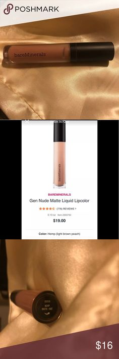 BareMinerals Gen Nude Liquid Lipstick Color:Hemp (light brown peach)  .13 oz  Long-wearing, moisturizing, full-coverage cream-to-matte color in a range of statement-making nude shades for all skin tones.  When it comes to the nude lip, there is no such thing as one-size-fits-all color. Meet the next generation of nude.  Gen Nude Matte Liquid Lipcolor is long-wearing, cream-to-matte color with a lightweight, no-tack texture.   Used once just to swatch on arm! Makeup Lipstick