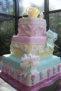 Baby Shower Cake — boy and girl