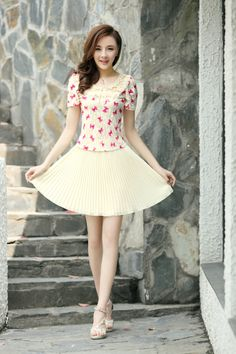 Butterfly Printed Dress, Chiffon Skirt, Lace Top, chiffon dress, lace dress, embroidered dress, Embroidered Collar, YRB, 0334, elegant dress...
