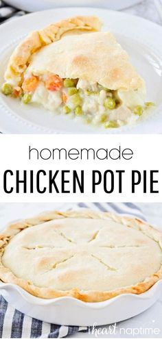 This homemade chicken pot pie does just the trick! The filling is savory and rich, while the light pie crust is flaky and cooked to perfection. You're going to love it! #chicken #chickenrecipes #chickenpotpie #potpie #homemade #pie #pies #pierecipes #piecrust #dinner #dinnerideas #comfort #comfortfood #recipes #iheartnaptime Homemade Chicken Pot Pie, Easy Chicken Recipes, Easy Dinner Recipes, Appetizer Recipes, Homemade Pie, Dinner Ideas, Chicken Meals, Dinner Dishes, Food Dishes