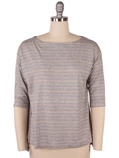Eileen Fisher Stripe Boxy Boat Neck Top