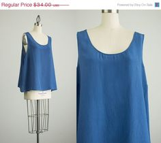 25% OFF SALE 90s Vintage Blue Silk Tunic Tank Top / by decades