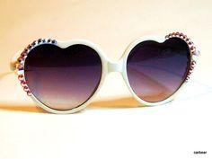 Sun glasses White Hot Heart Custom Crystal big sunglasses Swarovski Bling