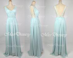 2014 Mint Prom Dresses Long Prom Dresses V Neck by MissDressesy, $139.00