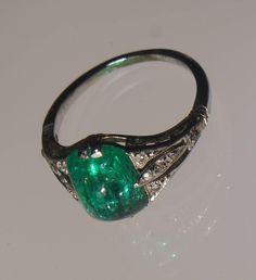 Edwardian 2.63 Carat Emerald Platinum Ring 2 Aneis, Anéis De Esmeralda,  Jóias De Esmeralda 0bd42ab9dc