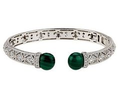 Judith Ripka Sterling Estate Malachite Cabochon Hinged Cuff